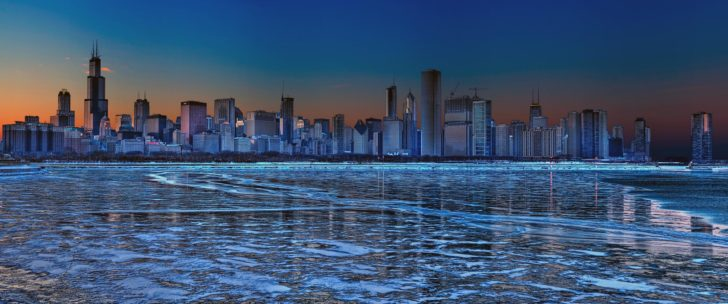 Lac michigan gelé, Chicago
