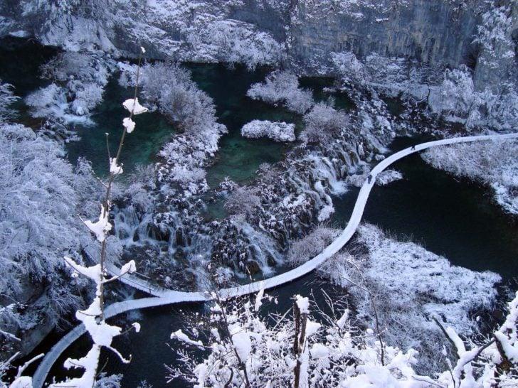 Lacs de Plitvice en hiver, Croatie