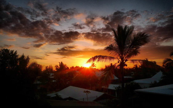 soleil couchant à l'ile de la Réunion