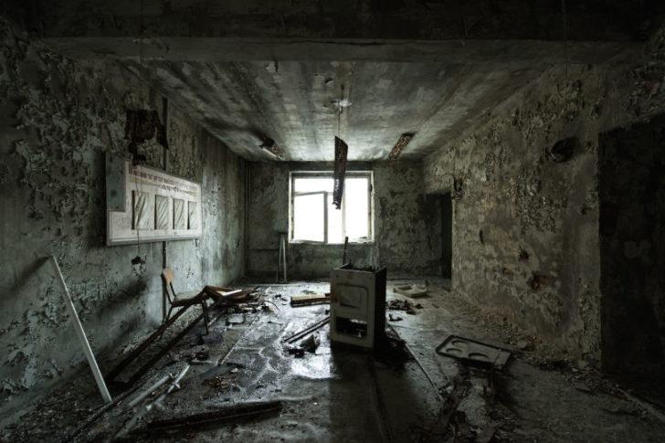Chambre dans l'ancien hopital de Pripiat
