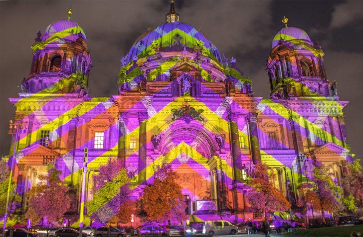 Berlin, cathédrale, festival de lumières