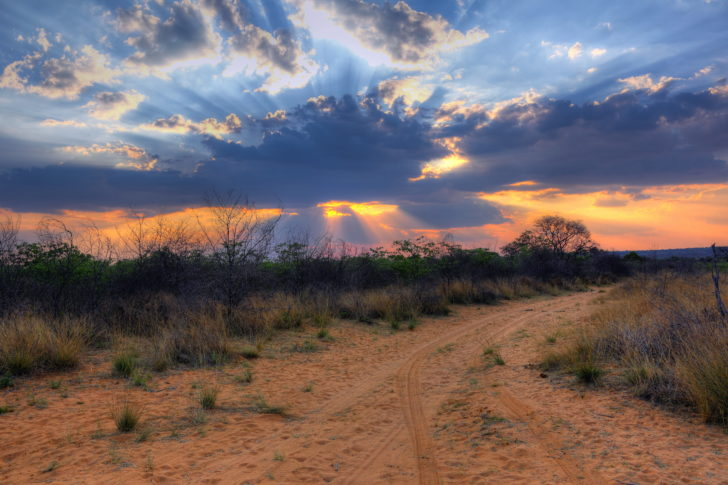 coucher soleil plateau Waterberg, Namibie