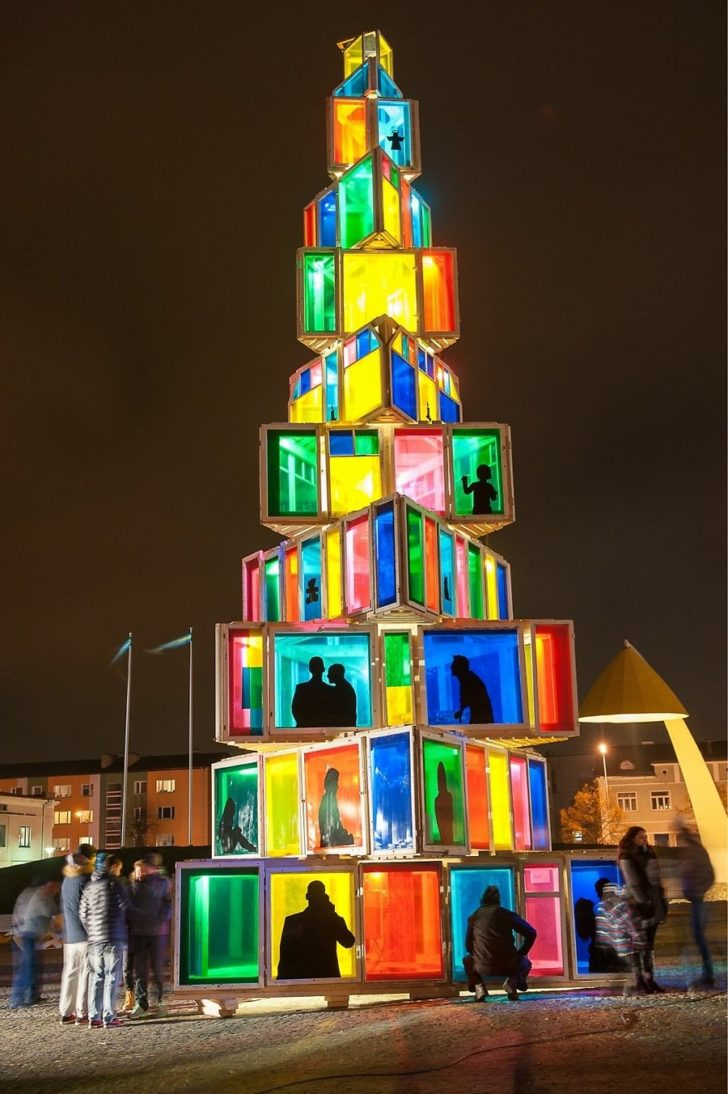 Estonie, rakevere, sapin Noël en fenêtres