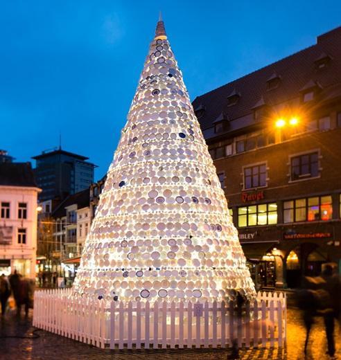Belgique, sapin Noël assiettes porcelaine