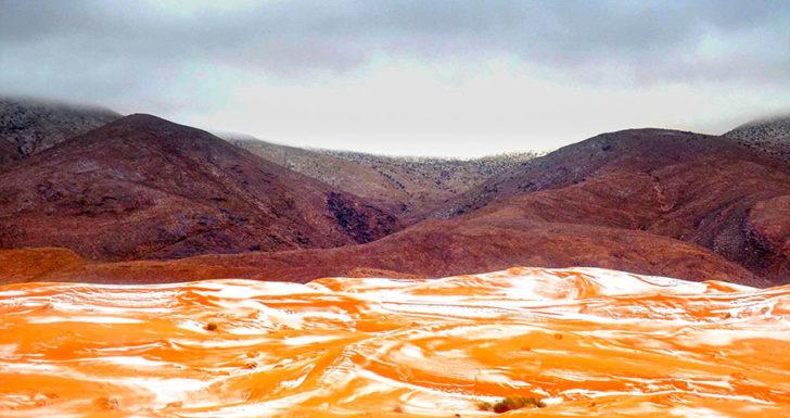 Neige dans le désert du sahara