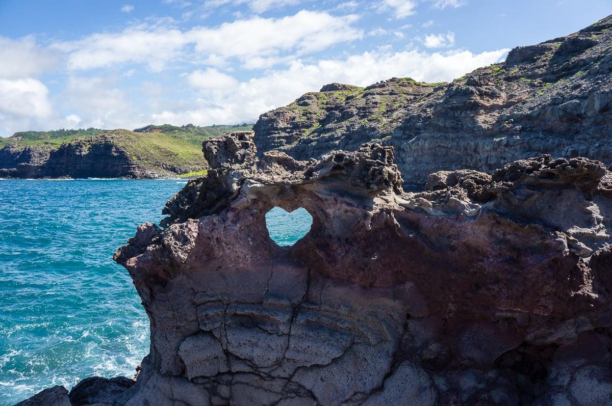 nakalele, hawaii, rocher coeur