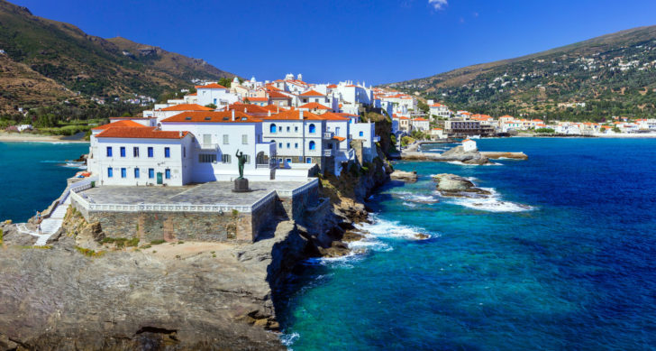islands greece - andros, view of chora