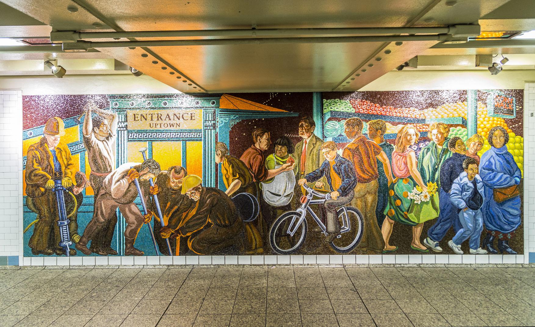 mosaïque fresque murale, NYC