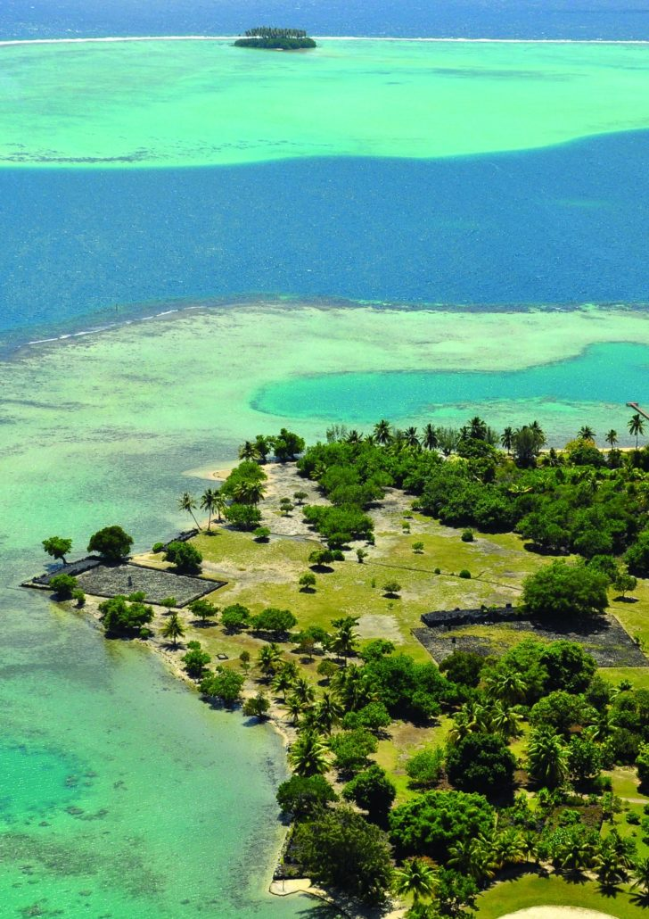 Taputapuatea: Vue aérienne du complexe du MaraeTaputapuatea
