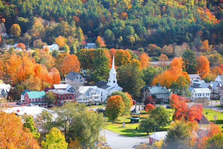 Village du Vermont aux USA en automne